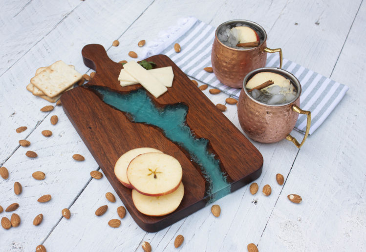 Wood and Blue Resin Charcuterie board cheese platter